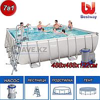Квадратный каркасный бассейн  Power Steel Frame, Bestway 56626, размер 488х488х122 см, фото 1