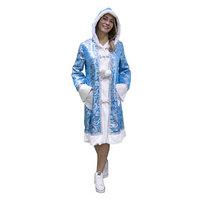 Карнавальный костюм 'Снегурочка с капюшоном' голубая, шуба с капюшоном, р. 48