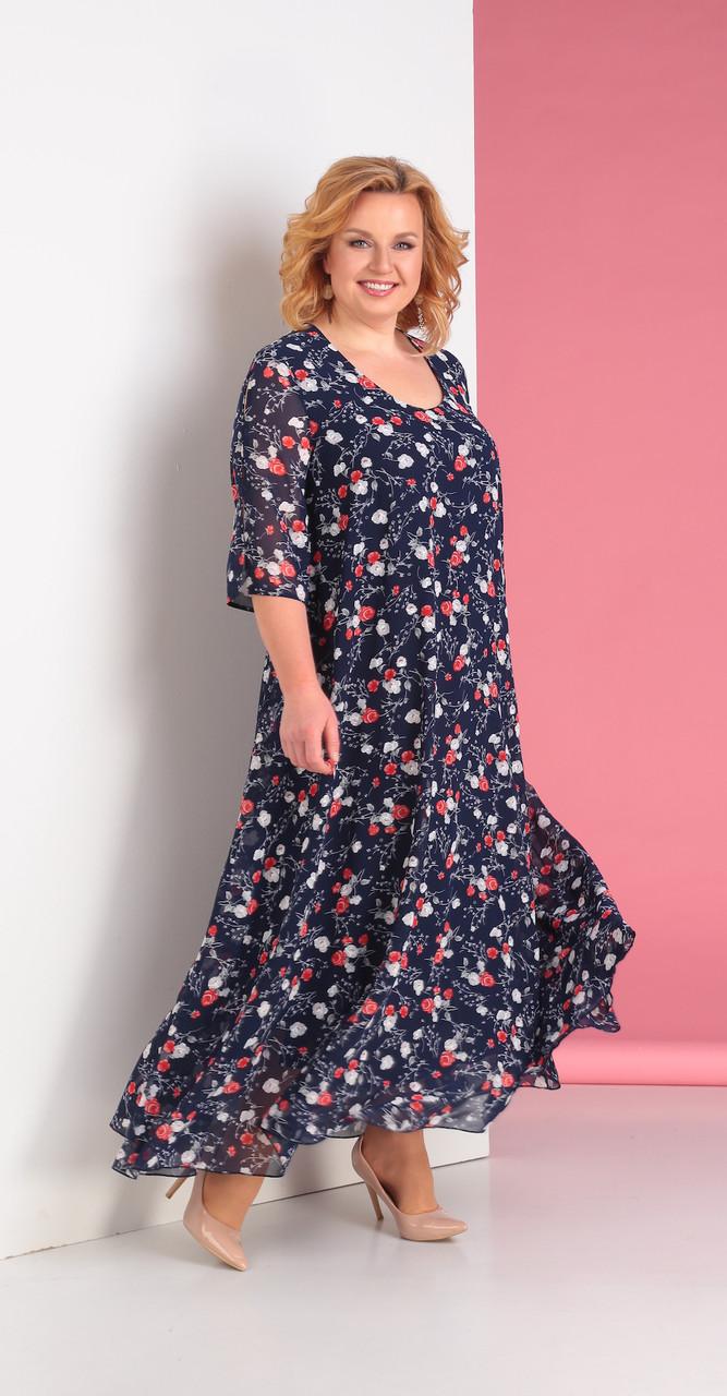 Платье Novella Sharm-3176-2-3, темно-синий с цветами, 62