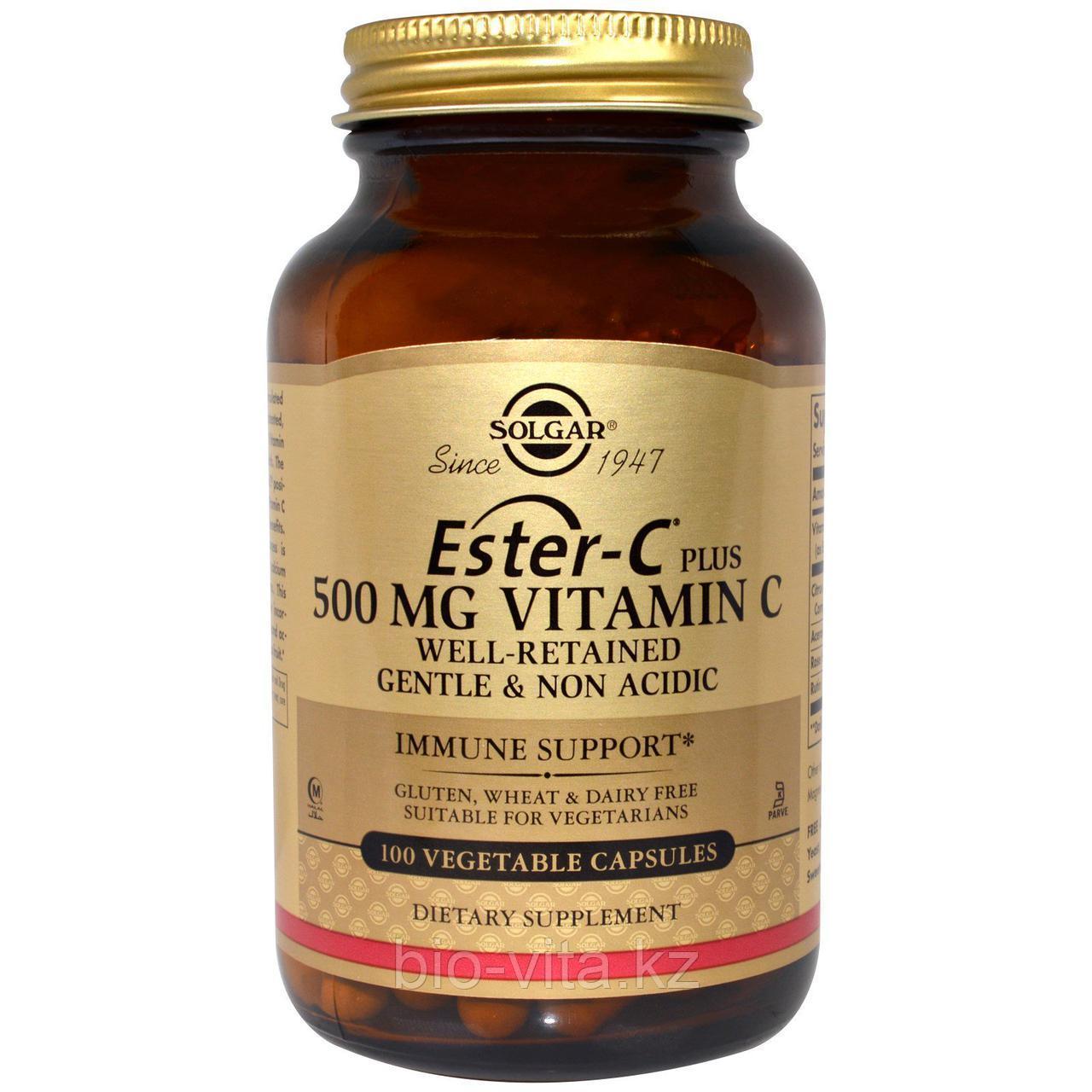 Solgar, Ester-C Plus, 500 мг витамина С, 100 таблеток.