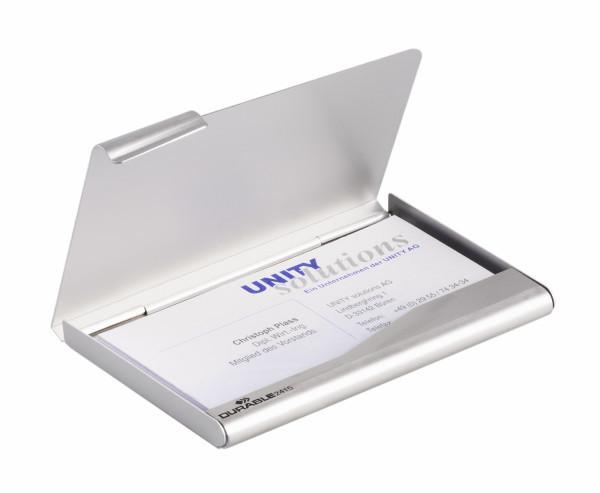 """Визитница алюминиевая """"Durable"""", 90x55мм, на 20 визиток, серебристая"""