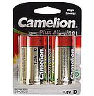 Батарейка Camelion D LR20-BP2, Plus Alkaline, 1.5V, 21000 mAh (2 шт.)