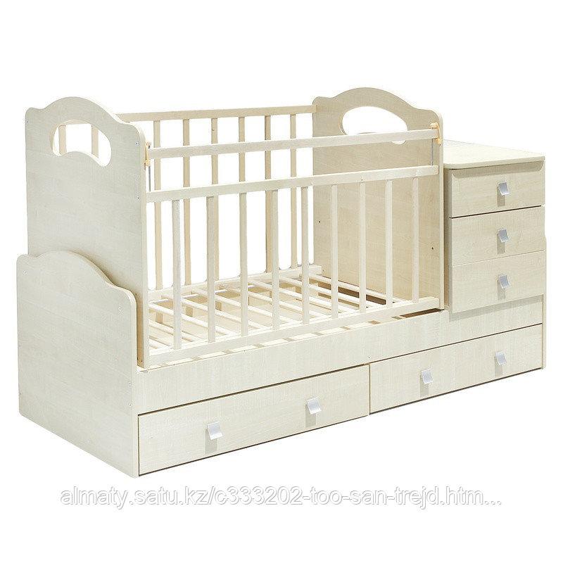 Детская кровать - трансформер ВДК Infanzia с МДВ (с пеленальным столом+3 ящ),цвет венеге-беж,белый