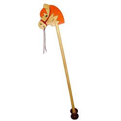 Деревянная Лошадка-скакалка на палке, на колёсах