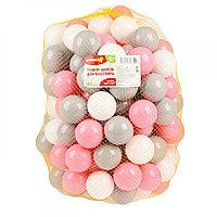 Шарики для сухого бассейна с рисунком, диаметр 7,5 см, 150 штук, цвет розовый, серый , белый