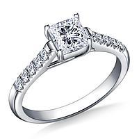 Золотое кольцо c центральным бриллиантом от 0,35Ct огранка Принцесс, Кушон, Ашер, фото 1