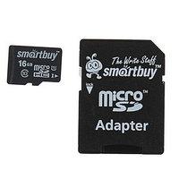 Карта памяти Smartbuy microSD, 16 Гб, SDHC, класс 10, с адаптером SD