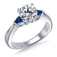 Золотое кольцо c центральным бриллиантом от 0,35Ct и Сапфирами, фото 1
