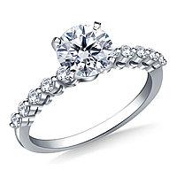 Золотое кольцо c центральным бриллиантом от 0,35Ct, фото 1