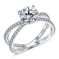 Золотое кольцо c центральным бриллиантом от 0,95Ct, фото 1