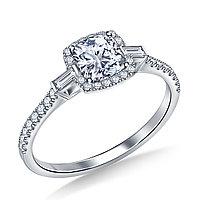 Золотое кольцо c центральным бриллиантом от 0,90Ct огранка кушон, фото 1