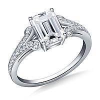 Золотое кольцо c центральным бриллиантом от 0,95Ct огранка Изумрудная, фото 1