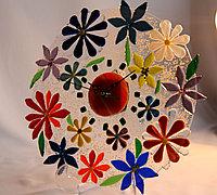 """Часы """"Цветы"""", выполненые в технике фьюзинг"""