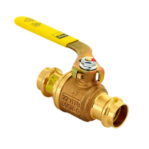 Кран шаровой Viega A2 Profipress G 2670 - Ду28 (Пресс/Пресс, PN5, ручка-рычаг желтая, для газа)
