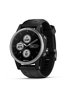 Часы с GPS навигатором Garmin Fenix 5S Plus Серебристые с черным ремешком (010-01987-21)
