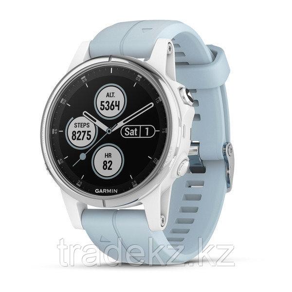 Часы с GPS навигатором Garmin Fenix 5S Plus Белые с ремешком цвета морской пены (010-01987-23)