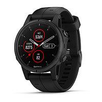 Часы с GPS навигатором Garmin Fenix 5S Plus Sapphire, черные с черным ремешком (010-01987-03)