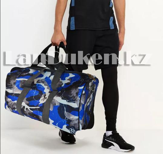 Сумка спортивная дорожная камуфляжная с плечевыми ремнями синяя