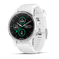Часы с GPS навигатором Garmin Fenix 5S Plus Sapphire белые с белым ремешком (010-01987-01)