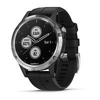 Часы с GPS навигатором Garmin Fenix 5 Plus серебристые с черным ремешком (010-01988-11)