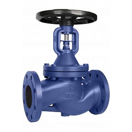 Клапан запорный RUSHWORK - Ду50 (ф/ф, PN16, Tmax 250°С, чугун, с сильфонным уплотнение)