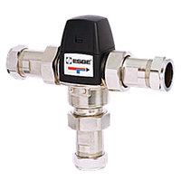 """Клапан термостатический смесительный ESBE VTA533 - CPF22мм (компрессионное подключение, с переходником НР 1"""", Tmax. 95°C, точка переключения 35-50°C,"""