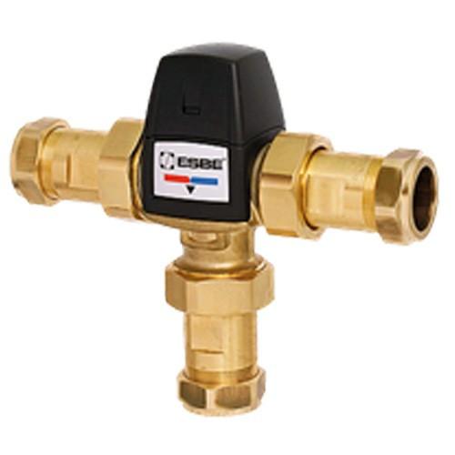 """Клапан термостатический смесительный ESBE VTA553 - CPF22мм (компрессионное подключение, с переходником НР 1"""", Tmax. 95°C, точка переключения 20-43°C)"""