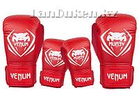 Детские перчатки для бокса Venum красные OZ-4, фото 1