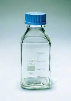 Бутыль стеклянная квадратная с завинчивающейся крышкой d-45 мм, со шкалой (500 мл) (Pyrex)