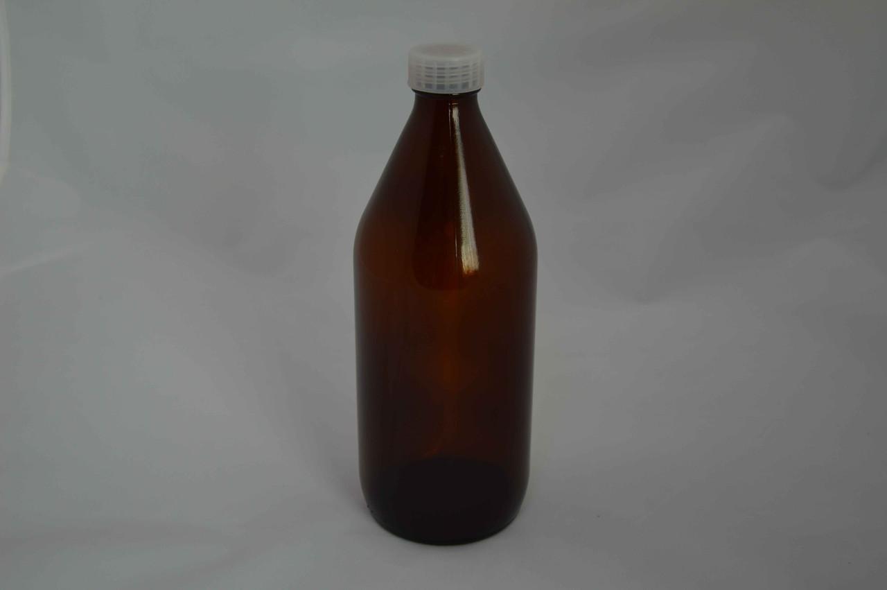 Бутыль для химреактивов из темного стекла с завинчивающейся крышкой и вкладышем (1000 мл)