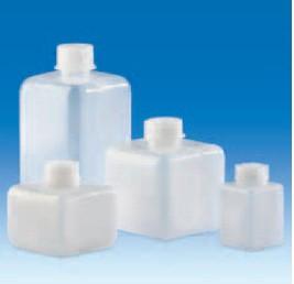 Бутыль узкогорлая полиэтиленовая, квадратная, V-100 мл, винт.крышка (PE-HD) (VITLAB)