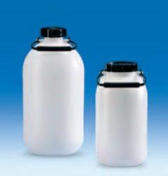 Бутыль узкогорлая полиэтиленовая, V-5 л, с ручкой для переноса, винтовой крышкой без вентиля (PE-HD) (VITLAB)