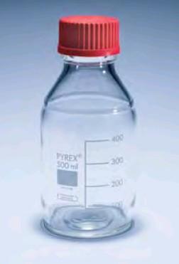 Бутыль для химреактивов с пластмассовой завинчивающейся высокотемпературной крышкой d-45 мм, со шкалой (5 л) (Pyrex)