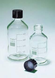 Бутыль для химреактивов с пластмассовой завинчивающейся крышкой d-25 мм, со шкалой (100 мл) (Pyrex)