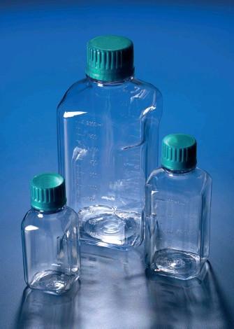 Бутыль узкогорлая поликарбонатная, квадратная, V-500 мл, с винт.зеленой крышкой, автоклавируемая (PС) (Azlon)