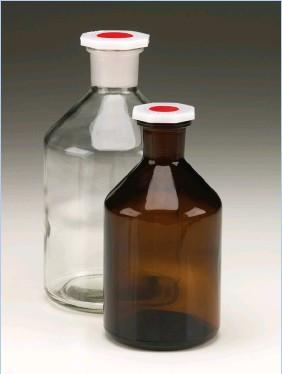 Бутыль для химреактивов из темного стекла с п/э пробкой (100 мл), шлиф 14/23 (MBL)