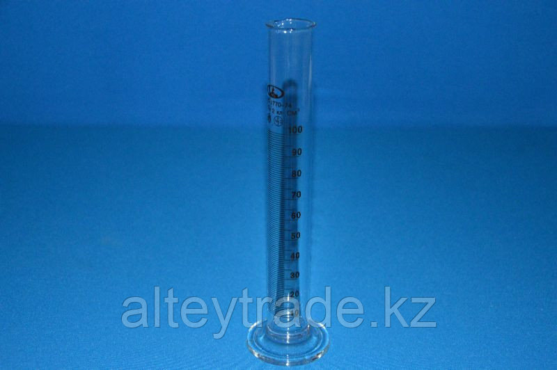 Цилиндр 1 мерный с носиком и стекл.осн.1-100-2