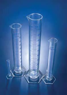 Цилиндр мерный с носиком высокий, 100 мл, ц.д.1 мл, класс В, 6-гранное основание, синяя напечатанная шкала, РМР (Azlon)