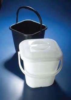 Ведро полиэтиленовое квадратное, V-14 л, черное с рельефной шкалой (PE-HD) (Azlon)