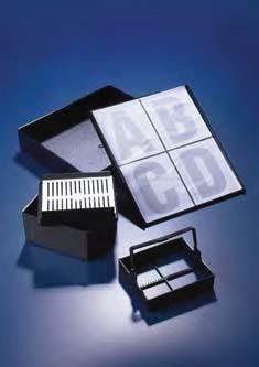 Контейнер для хранения 4 штативов для окрашивания 25 предметных стекол, 190x170х38 мм, из полиацеталя (Azlon)