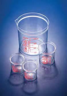Стакан пластиковый 250 мл, ц.д.25 мл, красная шкала, материал-полиметилпентен (РМР) (Azlon)