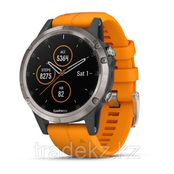 Часы с GPS навигатором Garmin Fenix 5 Plus Sapphire,титановые с оранжевым ремешком (010-01988-05)