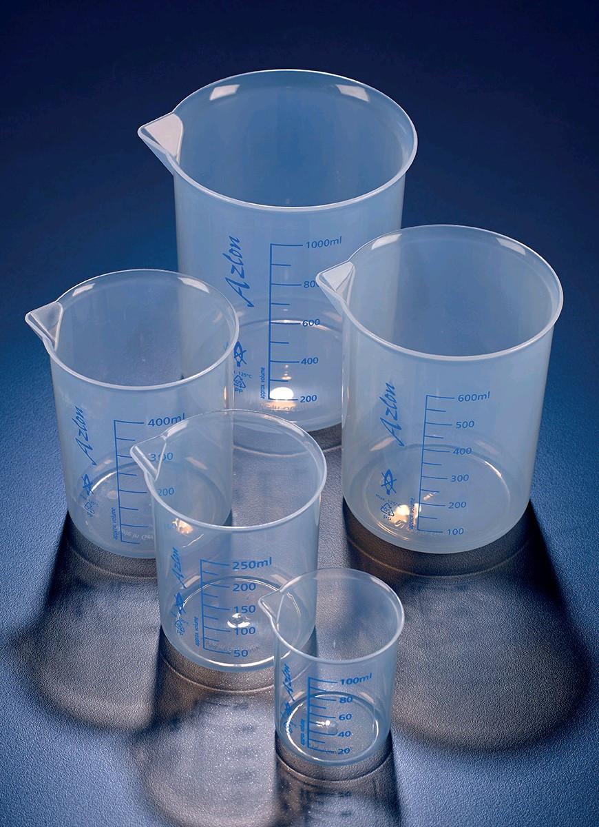 Стакан полипропилен 100 мл, ц.д.10 мл, синяя печатная шкала (РР) (Azlon)