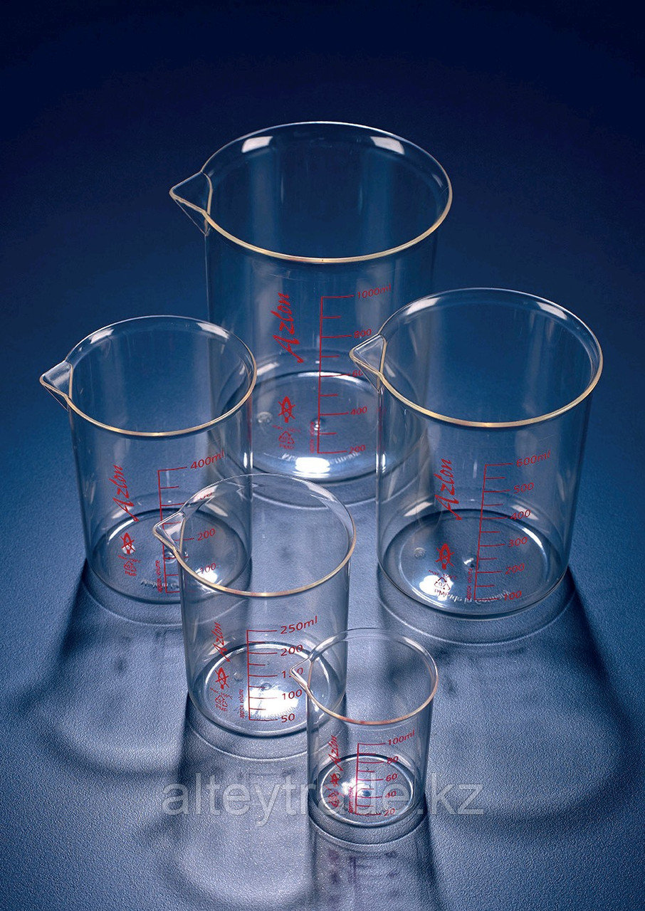 Стакан пластиковый 500 мл, ц.д.50 мл, красная шкала, материал-полиметилпентен (РМР) (Azlon)