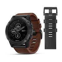 Часы с GPS навигатором Garmin Fenix 5X Plus Sapphire черные с кожаным ремешком (010-01989-03)