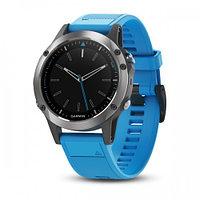 Часы с GPS навигатором Garmin Quatix 5 синий силиконовый браслет (010-01688-40)