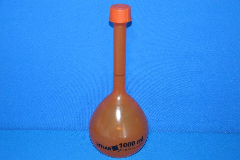Колба мерная непрозрачная с винтовой пробкой, 1000 мл, класс А, материал-полиметилпентен (РМР) (VITLAB)