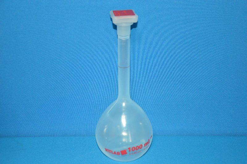 Колба мерная с полиэтиленовой пробкой NS24/29, 1000 мл, класс В, материал-полиметилпентен (РМР) (VITLAB)