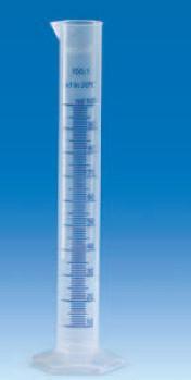Цилиндр мерный с носиком высокий, 10 мл, ц.д.0,2 мл, класс В, 6-гранное основание, рельефная синяя шкала, РР (VITLAB)
