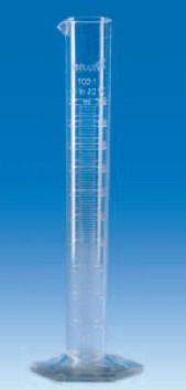 Цилиндр мерный с носиком высокий 50 мл, ц.д.1 мл, класс В, 6-гранное основание, рельефная шкала, SAN (VITLAB)